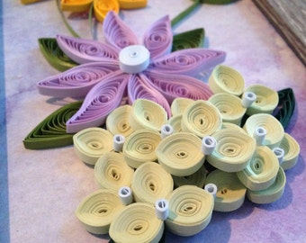 Quilled Yellow and Purple Flower Arrangement