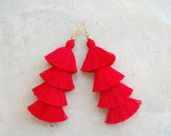 Four Layered Red Tassel Earrings
