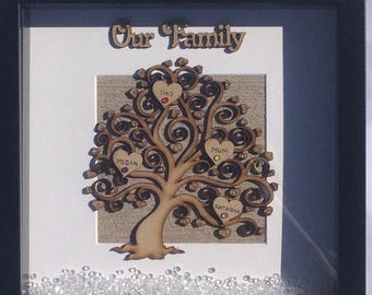 Our family tree frame, family tree box frame, personalised frame, family frame, family tree frame