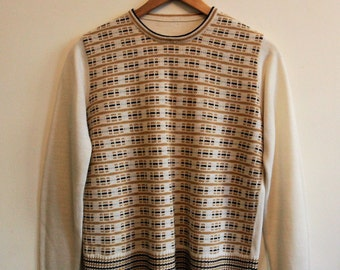 Vintage 1970s knitted cream brown mustard yellow jumper Size 8 Small