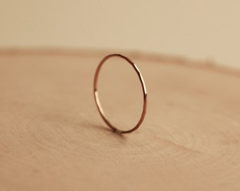14k Rose Gold Ultra Thin Hammered Stacking Ring, Dainty Solid Rose Gold Ring, Handmade Stacking Ring, Planished Ring