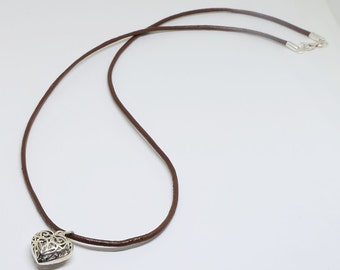 Leather Necklace with Sterling Silver Clasp & Oxidized Heart Pendant-1, 2 mm Leather Thickness-Choose Your Own Leather Color and Length