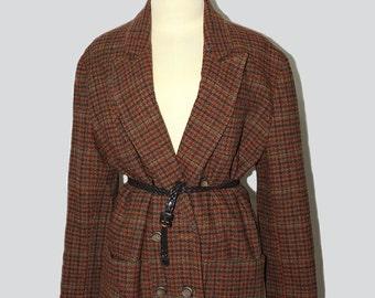 Vintage Houndstooth Jacket 1980's Wool  Oversized // Vintage Houndstooth Jacket // Vintage Oversized  Jacket //80s