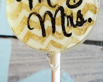 Mr. and Mrs. Wedding Favor Lollipops, Gold Chevron Lollipops, Set of 10 Lollipops, 2 1/8 inch Wide, Can Do Custom Colors