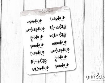 Days of the Week Word Stickers (WS002)