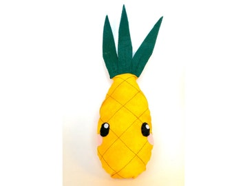Pineapple plushie, cushion, pillow, stuffed toy, fruit toy, food toy, Kawaii, plush toy,