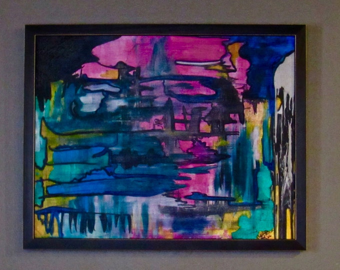 "Framed Abstract Painting ""Overloaded"""