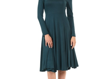 Long Sleeve Fit and Flare Midi Dress Hunter Green