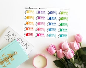 Walk the Dog Stickers | 20 Planner Stickers for ANY Planner | Dog Leash Stickers