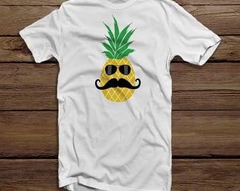 Funny Pineapple T-shirt for Men - Pineapple Mustache Shirt - Funny Fruit T-shirt for Him - Beach T-shirt - Hawaiian Pineapple Shirt