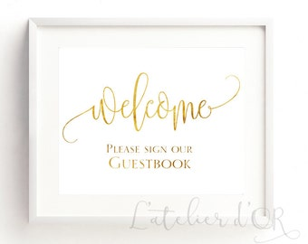 Welcome Wedding Sign, Gold Foil Wedding Sign, Please Sign our Guestbook, Wedding Sign, Reception sign, Real Gold Foil Print