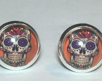 Sugar Skull Day of the Dead Rockabilly Earrings Sterling Silver Backs