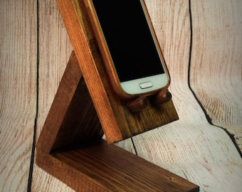 Wooden Mobile Phone Docking Station - Charge station- Iphone  - Birthday Present  - Geek - Docking charge stand - gift.