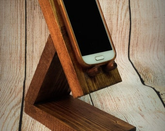 Wooden Mobile Phone Docking Station - Iphone - smart phone Samsung - Birthday Present - mothers day - Geek - Docking charge stand - gift.