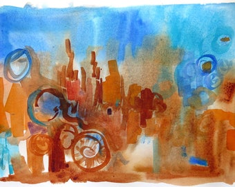 Modern Abstract, Bold Abstract Art, Urban abstract, Original Painting, Contemporary art, Abstracts by LaBerge, blue  and orange, 22x15 in