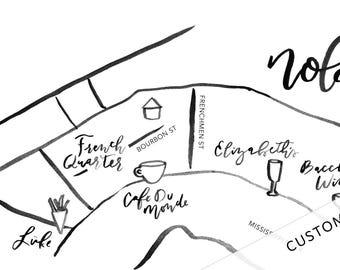 Custom Hand-Lettered Map