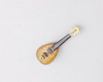 Vintage Luit brooch, guitar brooch, musical instrument pin, gift idea for music lovers, vintage Japanese costume jewelry