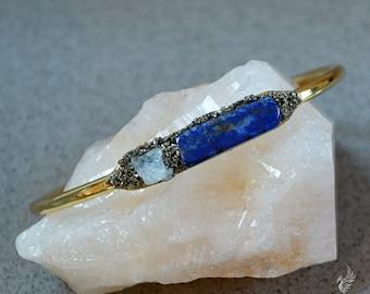 Aquamarine Bracelet - Lapis Bracelet - March Birthstone Bracelet - Travel Jewelry - Genuine Aquamarine Jewelry - Gypsy Boho Bracelet For Her