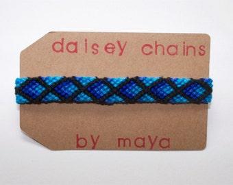 Criss Cross Friendship Bracelet, Diamond Friendship Bracelet, Woven Bracelet, Blue Black Bracelet, Ombre Bracelet, Custom Bracelet