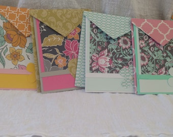 Set of 6 Blank Floral Note cards