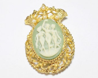 Vintage Gold Tone Dancing Furies Faux Cameo and Pearl Style Pin