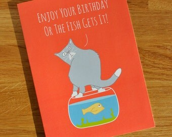 Animal Cat Card 24% Sale Reduction - Designed and Printed in the UK - Cat Themed Birthday Card