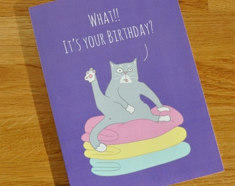 Birthday Card 24% Price Reduction - Funny Cat card - Designed and Printed in the UK