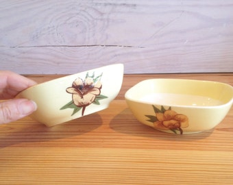 Vintage Weil Ware Yellow Rose Bowls / 1950's Dinnerware Sets / Weil Ware / Made in California
