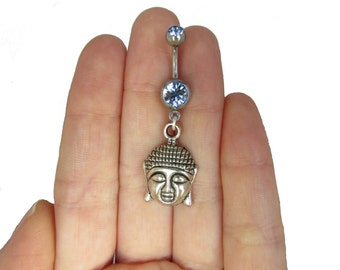 Belly button piercing with Buddha pendant, sweet body jewelry, gift, spiritual navel ring, piercing Tibet silver