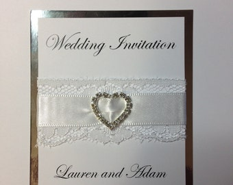Personalised Wedding Invitations - 5x7 with Ribbbon, Lace and Diamante Heart