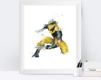 Wolverine Print X-Men Watercolor Superhero Wolverine Art Marvel Nursery Kids Room Decor Wall Art Painting Superhero Gifts Digital Download