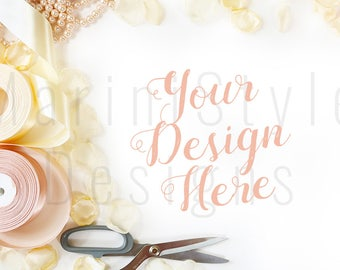 White Desk, Styled Desk, Feminine Styled Stock Photography, Stock Photo, Styled Desktop Mockup, Stock image, Flatlay, Pink & Gold, 442
