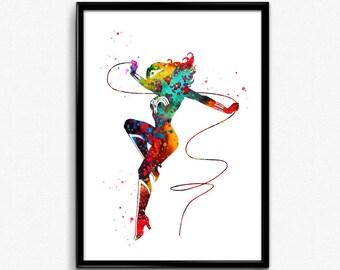 Wonder Woman inspired, Superhero, Colorful Watercolor, Poster, Room Decor, gift, print, wall art (334)