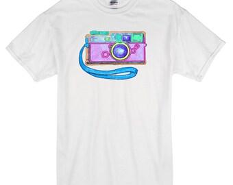 Camera Retro T-Shirt white 100% cotton photography