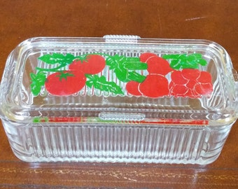 Antique Painted Glass Refrigerator Dish