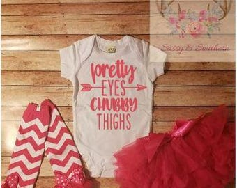 Infant Outfit / Tutu Bloomer / Leg Warmers / Pretty Eyes Chubby Thighs / Custom Infant Outfit / Personalized Infant Outfit