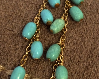 14K Gold Turquoise Dangle Earring