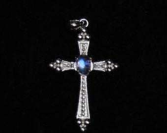 Moonstone Cross Necklace, Cross Pendant 4x6mm ,Sterling Silver Cross Rainbow Moonstone Pendant