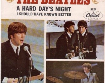 """Vintage Beatles """"A Hard Day's Night/ I Should Have Known Better"""" 45 record sleeve"""