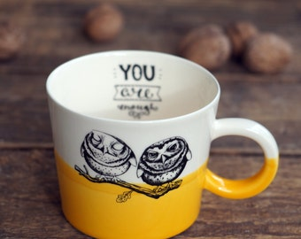 Wife Gift Mug, Love Cup, Husband Gift, Romantic gift, Girlfriend Present, Mug For Her, Owl Lover, Coffee Mug, Tea Person, Ceramic Latte Mug