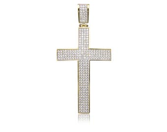 10K Solid Yellow Gold Cubic Zirconia Pave Cross Pendant - Polished Necklace Charm