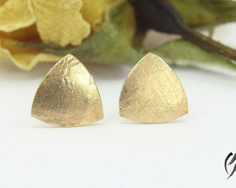 Earrings Rosé gold 585 /-, triangle textured paper, handmade