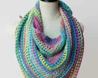 Crochet Rainbow scarf, knit triangle scarf, Boho scarf, colorful wrap scarf, lacy scarf, multicolor scarf, fashion gifts, ready to ship