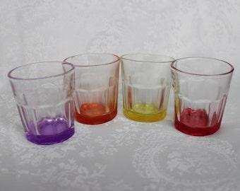 Vintage 50s Rainbow Vodka Shot Glasses, Shot Glasses, Red, Yellow, Purple and Orange Glass Shots, Colored Bottoms Shot Glasses