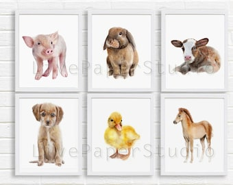 Farm Nursery Watercolor Baby Animal Print Set, Farm Animals Nursery decor painting Piglet, Cow, Rabbit, Bunny, Horse set giclee prints