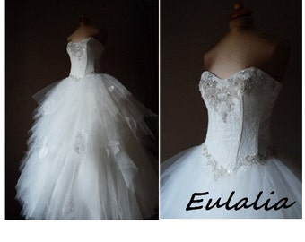 Lace and tulle  wedding dress, EULALIA