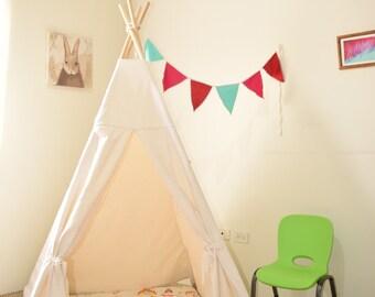 Ready to ship Natural Canvas Plain Kids Teepee / Kids Play Tent / Wood pole included / Tipi / Tepee set / Teepee / Tent / teepee