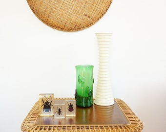 Coffee table vintage rattan wicker and wood