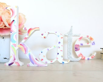 """4"""" Wooden Stand Alone Letters - Wood Letters for Nursery - Custom Baby Name - Individual Wood Letters - Gallery Wall Letters - Wood Initial"""