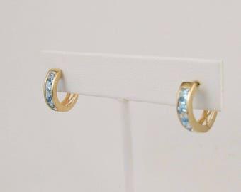14k Yellow Gold Hoop/Huggies Pair Of Earrings With Topaz Gemstones